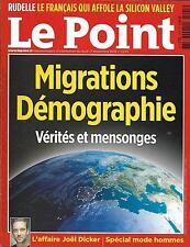 LE POINT N°2245 17/09/2015 MIGRATIONS DEMOGRAPHIE/ DICKER/ CAZENEUVE/ MODE