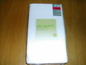 DOUBLE FITTED COTTON SHEET  -  WHITE  -  NEXT  -  ANTI ALLERGY  -  BNWT