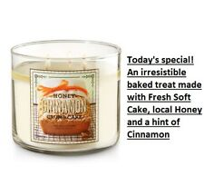 NEW BATH & BODY WORKS HONEY CINNAMON CRUMB CAKE SCENTED CANDLE 3 WICK CHEAP SHIP