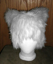KITTY CAT WHITE FUR EARS HAT CYBER RAVE EDC FESTIVAL COSTUME ANIME BURNER WIG