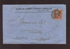 GB QV 1858 1d RED to SPAIN GUMMS FREIGHT AMERICAN SHIPS