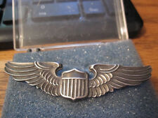 "WWII  PILOT WINGS - LGB STERLING - 3"" PINBACK"