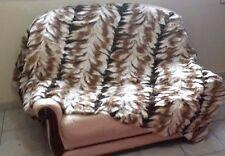 Natural Brown & White Rex Rabbit Fur Throw 100% Real Rex Fur Bedspread / Blanket
