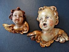 2 Ángel antigua cara de ángel Ángel cabeza Putten madera yeso Top