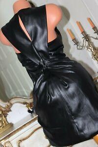 (RL 2) KAREN MILLEN Dominatrix Black Gathered Fitted Mini Dress Size 10