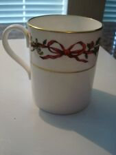 Vintage Royal Worcester Holly Ribbons White w/ Gold Rimmed Christmas Mug