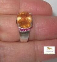7.65 ct Natural Royal Imperial Topaz- Ruby Silver Ring