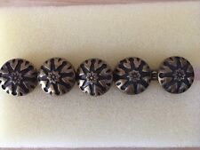 "Brass Knob Drawer Pull Door Cabinet Handle Set of 5 from Bali 1.25"" Flower Star"