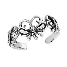 Silver Toe/Pinky Ring Triple Butterfly Wrap .925