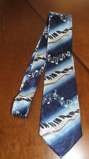 Mens Lot's Of Music Notes Sheet Music Piano Key's On A Navy Blue Neck Tie! #3