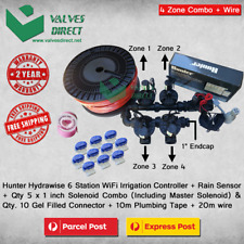 "Hunter Hydrawise 6 Station WiFi Combo-Qty 5 x 1""Solenoids, Rain Sensor & Wire"