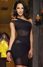 Sexy-Lingerie Night Club Black Dress one Shoulder design open Back Hot sweet