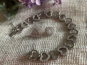 "FAS ""Hearts with Cubic Zirconia"" Tennis Bracelet Sterling Silver 7"" + Earrings"