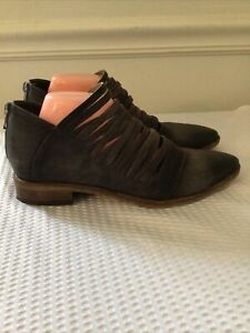 Free People Lost Valley Gray Leather Strappy Ankle Boots Size 40 US 10