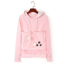 Cat Dog Casual Hoodies With Cuddle Pouch Kangaroo Pullovers With Ears Sweatshirt