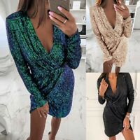 UK Ladies Sexy Tunic Dress Cocktail Sequin Wrap Club Party Slit Skirt Pleated
