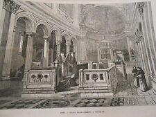 Gravure 1872 - Rome Eglise Saint Clément