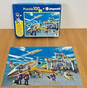 VINTAGE 2003 SCHMIDT PLAYMOBIL 100 PIECE BUSY AIRPORT AEROPLANE JIGSAW PUZZLE