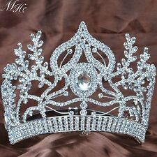 Large Tiaras Beauty Pageant Crown Clear Rhinestones Bridal Party Silver Headband
