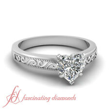 .90 Carat GIA Certified Heart Shaped Diamond Engraved Solitaire Engagement Ring