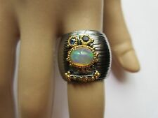 ARTISAN CRAFTED GENUINE OPAL& SAPPHIRE RING 2-TONE 925 STERLING SILVER SZ/8
