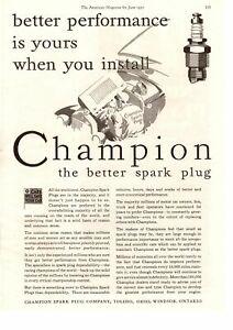 1930 Champion Spark Plug Company Toledo Ohio Mechanic Under Hood Hat Print Ad