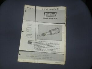 ☆ 1971 Sears Craftsman Owners Manual HAND GRINDER 315.25841