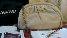 Authentic CHANEL Lambskin Beige Clutch Shoulder Chain GHW Rare Find!