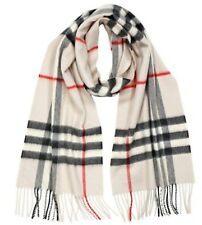100% Authentic Burberry Cashmere Scarf In Stone Check Made in Scotland $430