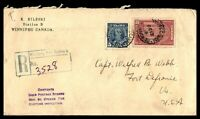 CANADA WINNIPEG MANITOBA STATION B OCTOBER 12 1938 REGISTERED CENSORED COVER TO