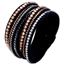 Crystal Closure Cuff Rhinestone Slake Deluxe Gold Bracelet Swarovski Element