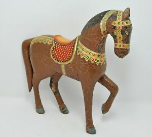 Original Old Vintage Hand Carved Painted Wooden Standing Horse Figurine
