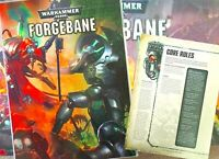 FORGEBANE: 40-page Warhammer 40K RULEBOOK+8-pg CORE RULES Foldout~Games Workshop