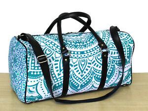 New Indian Duffel Handbag Sport Bag Cotton With Adjustable Strap Luggage Bag Art