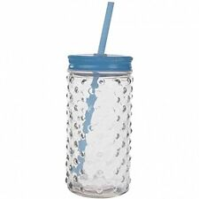 Deluxe Blue Bubble Glass Mason Jar Glass With Straw - 70's Style
