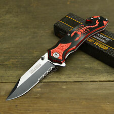 "Tac Force 8 1/4"" Spring Assisted Open Tactical Rescue Red/Black Scorpion Knife"