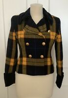 Mondi Military Plaid Cropped Double-Breasted Blazer, Size 10