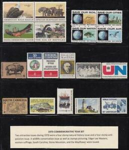 U S 1970 Commemorative Year Set (19 stamps) Mint Never Hinged