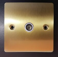 2x One Electrical Flat Plate Satin Brass White Inserts TV Socket 1 Gang EH1209UK