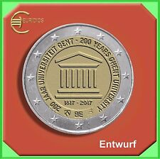 """2 Euro Belgien Belgium 2017 """" 200 Jahre Universität von Gent """" BU, Einzelmünze"""
