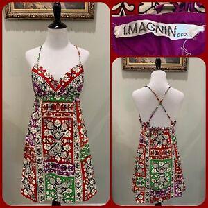 70s I MAGNIN Halter DRESS Mini Bandana Batik SUNDRESS Boho Hippie Ethnic VTG