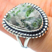 Green Tourmaline In Quartz 925 Sterling Silver Ring Size 7.25 Ana Co R31329F