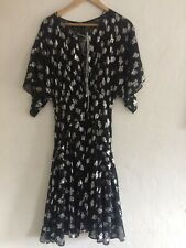 Pinko Silk Mix Dress Black & Silver Metallic Foil - Size 8 - Styled In Italy