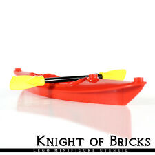 LEGO Minifigure RED Boat Kayak with Yellow Utensil Oar Paddle Head