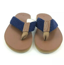 NEW Brooks Brothers Blue Braided Flip Flops Mens Size 10M Thong Sandals NWT
