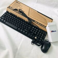 iMicro Black USB Wired Desktop Keyboard Qwerty & Standard Mouse Combo