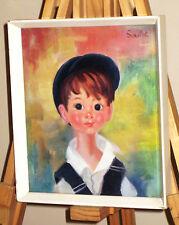 FRANCOISE SOULET Vintage 1960's Kitsch Print Big Eyed Boy in Hat, Bib & Braces
