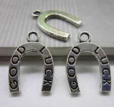 wholesale 25pcs Retro Style alloy 'good luck' horseshoe silver charm pendant