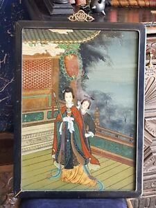 Vintage-Large Chinese Reverse Painting On Glass-Liang Hongyu Temple Scene-c1930s