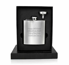 Personalised Engraved 6oz Hip Flask, Funnel+Luxury Moulded Gift Box - 18th, 21st
